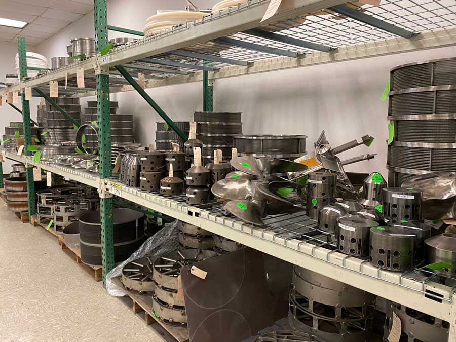 An image of some of how Hockmeyer stores parts at their Parts & Service office